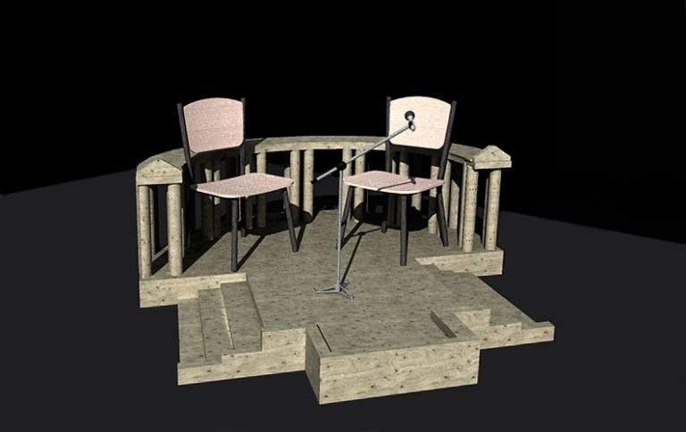 3D model of the wood platform, an expanded sculpture project as a part of the project Túmbenlo