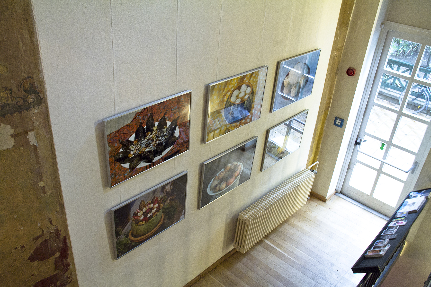 """View of the photographic series Dishes for the Dead, as part of Spiritual Revolutions and The """"Scramble for Africa"""", in Ballhaus Naunynstrasse, Berlin, Germany, 2014"""