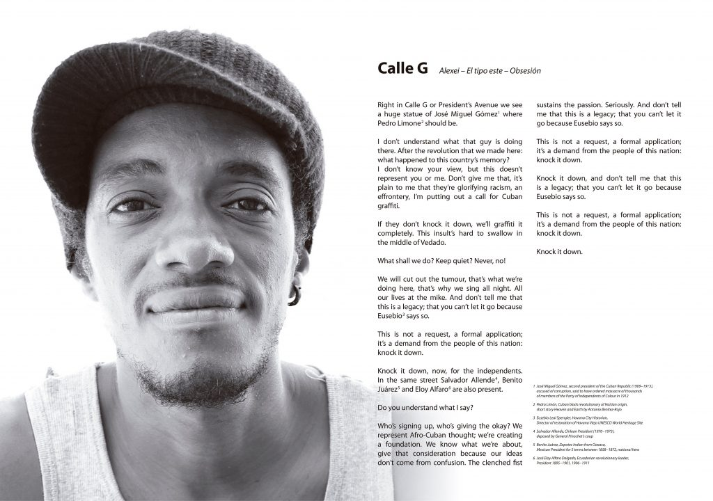 Poster on Offset print: Rapper Alexei - El Tipo Este, with his text: Calle G (G street)